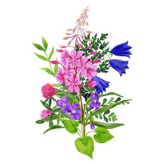 Wildblumenstrauß, rosa und blaue farbtöne, weidenröschen und glockenblumen
