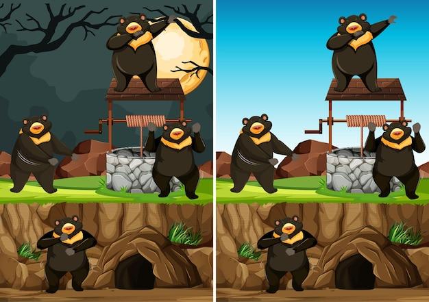 Wilde bärengruppe in vielen posen im tierparkkarikaturstil lokalisiert auf tag und nachthintergrund