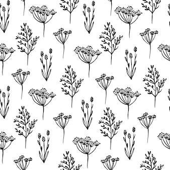 Wilde blumen monochrome blumen-skizze mit nahtlosem muster der abstrakten pflanzen-karikatur