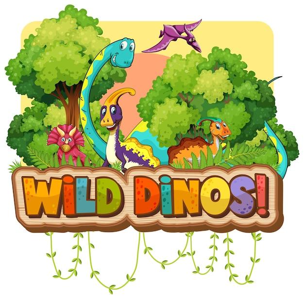 Wilde dinos-worttypografie mit dinosaurier-gruppenzeichentrickfilm-figur