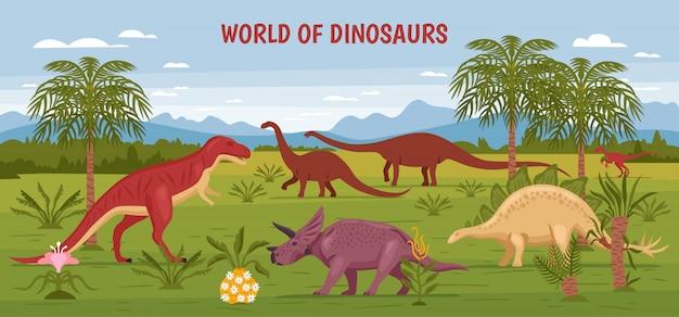 Wilde dinosaurier-weltillustration