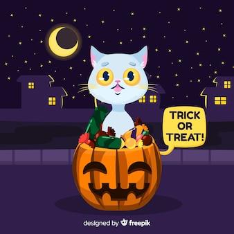 Wilde halloween-katze in einer stadt