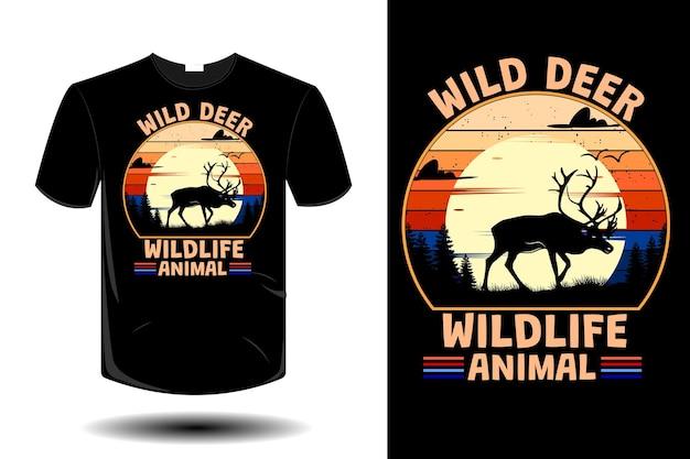 Wilde hirsche wild lebende tiere mockup retro-vintage-design