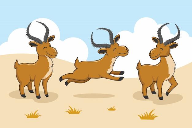 Wilde impala-karikatur-niedliche tiere