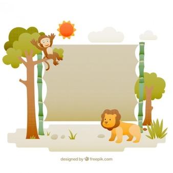 Wilde landschaft mit affen und löwen
