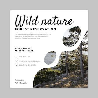 Wilde natur-quadrat-flyer-vorlage