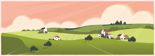 Wilde panoramische ländliche landschaft im frühjahr oder sommer. europa-bauernhoflandwirtschaft mit schafen im frühjahr oder sommer.