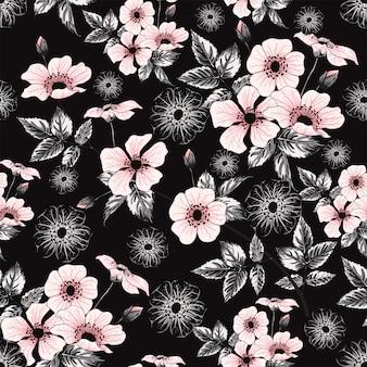 Wilde rosafarbene blumen des nahtlosen musterrosa-pastellfarbens, handzeichnung