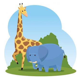 Wilde tiere der giraffe und des elefanten mit büschen