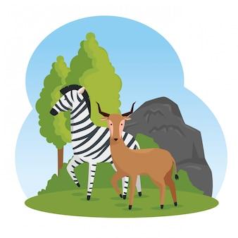 Wilde tiere des zebras und der rotwild mit bäumen