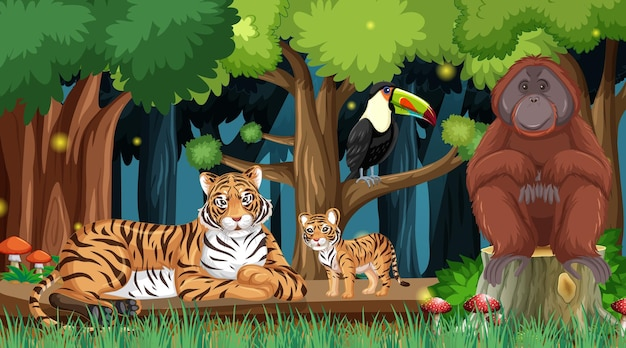Wilde tiere im waldlandschaftshintergrund