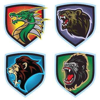 Wilde tiere logo set. drache, löwe, bär, gorilla, esports maskottchen,