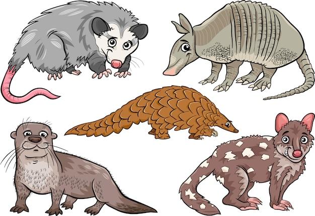 Wilde tiere stellen karikaturillustration ein