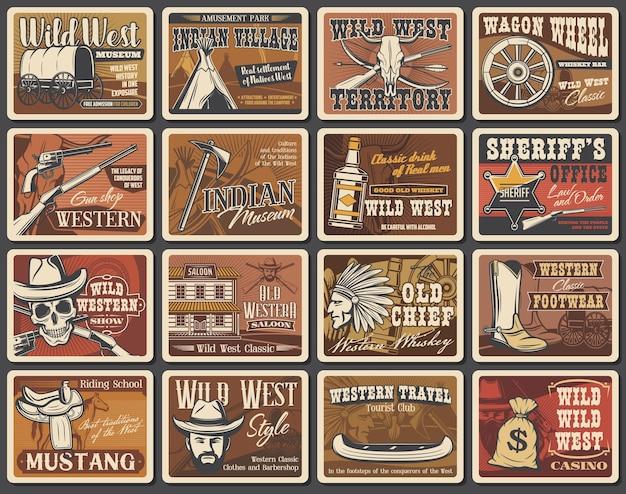 Wilde west-vektorplakate, cowboy-retro-kartensatz