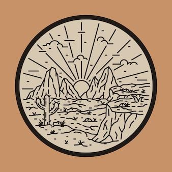 Wilde wüste kaktus linie patch pin illustration