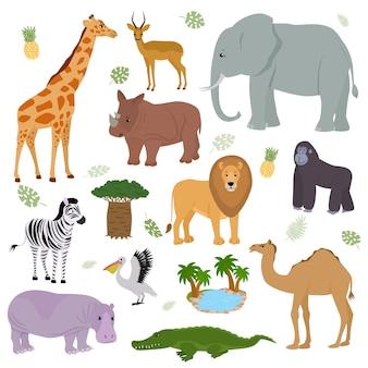 Wilder animalischer charakter des afrikanischen tieres elefantengiraffengorillasäugetier in der tierwelt afrikas illustrationssatz des nilpferdlöwenzebrakamels im nationalen safaripark lokalisiert auf weißem hintergrund
