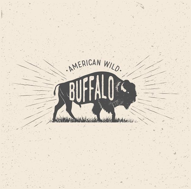 Wilder büffel im vintage-stil