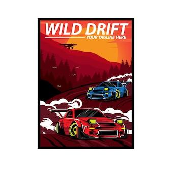 Wilder drift auf dem berg