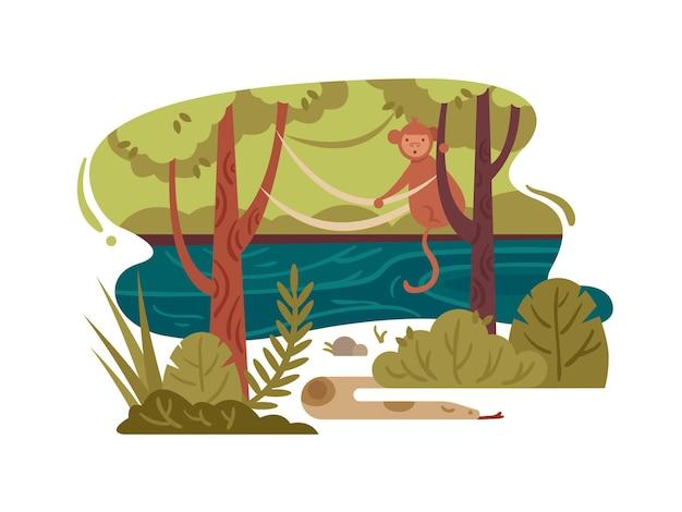 Wilder dschungelwald mit stürmischem fluss und tieren. vektorillustration