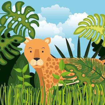 Wilder gepard in der dschungelszene