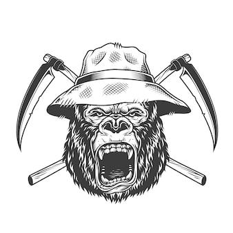 Wilder gorillakopf im panamahut