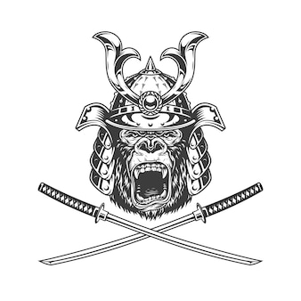 Wilder gorillakopf im samurai-helm