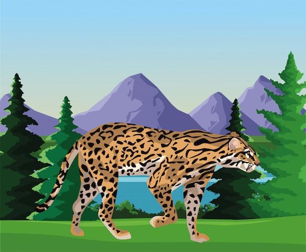 Wilder leopard in der landschaftsszenenillustration
