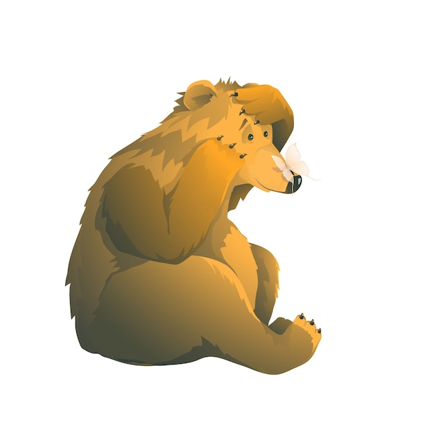 Wilder lustiger tier-teddybär, der den schauenden schmetterling auf seiner nase sitzt, erregte wildes braunes teddy-design. isolierte clipart-karikaturillustration.