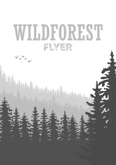 Wilder nadelwald-fliegerhintergrund. kiefer, landschaftsnatur, holznaturpanorama. designvorlage für outdoor-camping. vektor-illustration