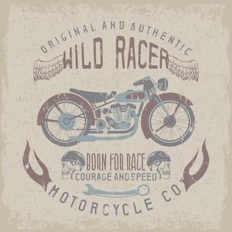 Wilder racerintage-print mit motorrad, flügeln und totenköpfen