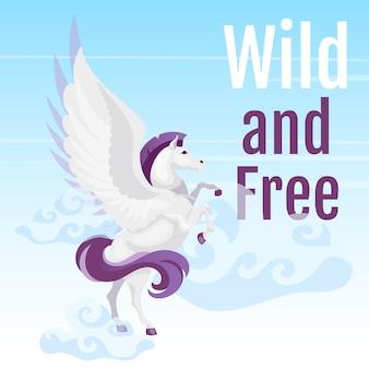 Wilder und kostenloser social media post. griechisches fabelwesen. pegasus fliegen in den himmel. pferd mit flügeln. web-banner-design-vorlage.