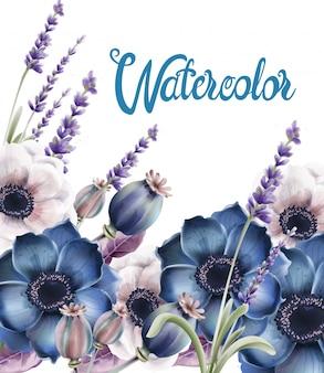 Wilder wald blüht blumenstraußkarte