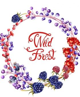 Wilder wald trägt blumenstraußkarte früchte