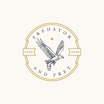 Wilder weißkopfseeadler, der fisch rundes emblem retro design fängt