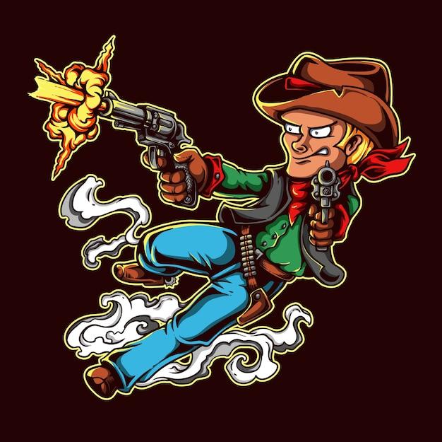 Wilder westcowboy-charakter-design, das mit gewehr schießt