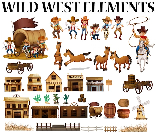 Wilder westen cowboys und gebäude illustration