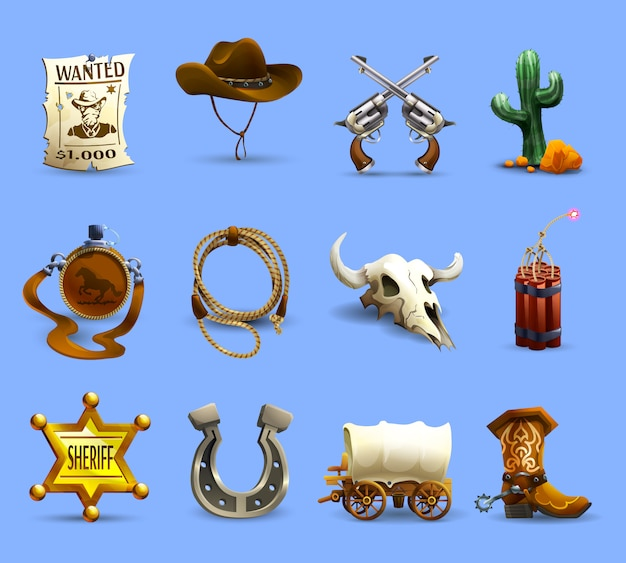 Wilder westen icons set