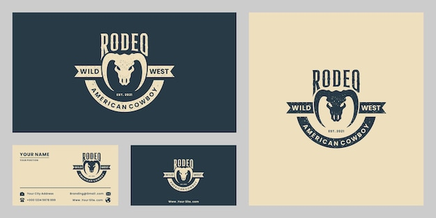 Wilder westen, rodeo, cowboy-logo-design-vintage-abzeichen, longhorn
