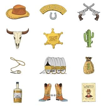 Wilder westen, rodeo-show, cowboy oder indianer mit lasso.