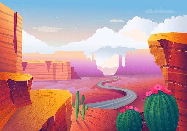 Wilder westen texas. landschaft mit roten bergen, kaktus, straße und wolken. illustration.