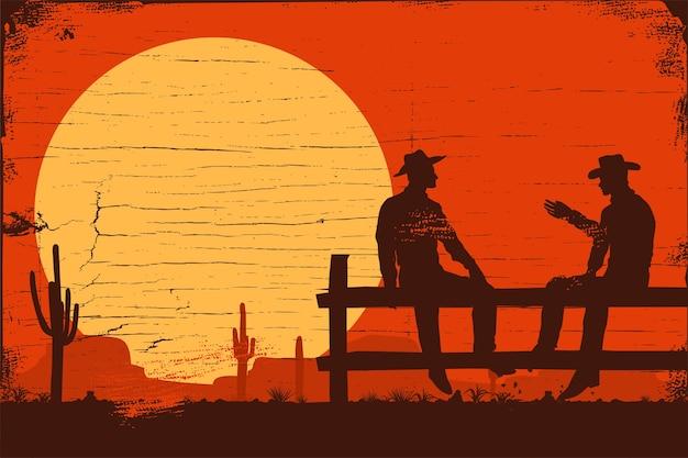 Wilder westhintergrund, schattenbild der cowboys, die auf zaun sitzen Premium Vektoren
