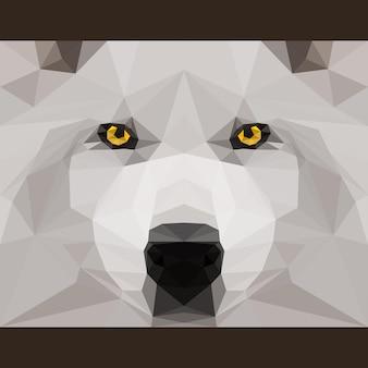 Wilder wolf starrt nach vorne. natur und tiere leben thema hintergrund. abstrakte geometrische polygonat-dreieck-illustration für die verwendung im design für karten, einladungen, poster, banner, plakate, plakatabdeckungen
