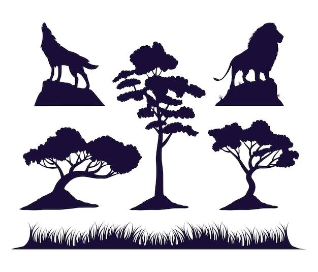 Wilder wolf und löwe mit baumfauna-silhouetten