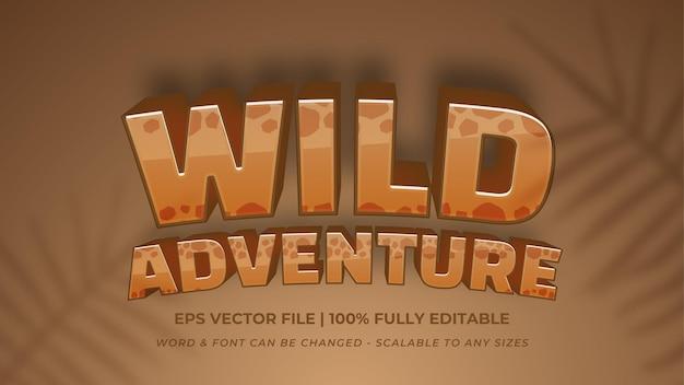 Wildes abenteuer bearbeitbarer 3d-vektor-text-stil-effekt. bearbeitbarer illustrator-textstil.