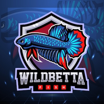 Wildes betta-fisch-maskottchen. esport logo design