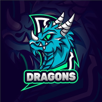 Wildes drachen maskottchen logo