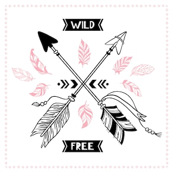 Wildes freies plakat. indische stammes- querpfeile, amerikanische apache-mohikanerpfeilillustration