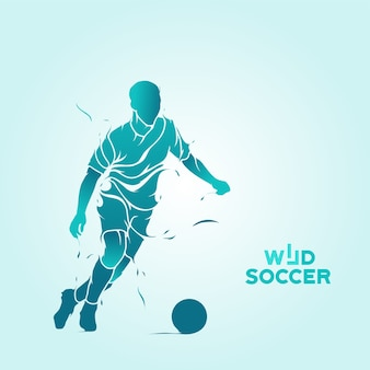 Wildes fußball spritzen silhouette