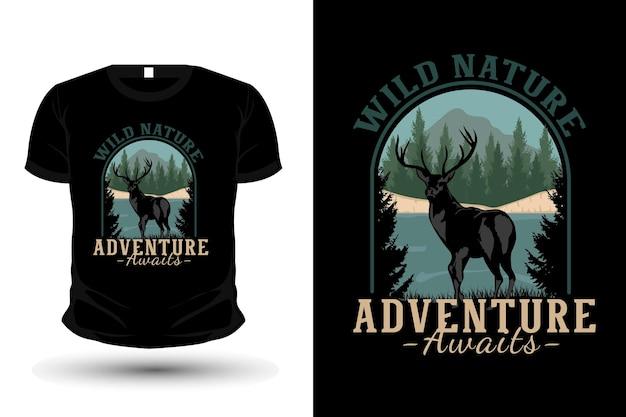 Wildes naturabenteuer erwartet merchandise-illustrations-t-shirt-mockup-design