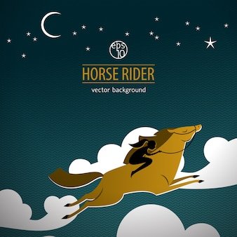 Wildes pferd mit reiter in den wolken und inschrift pferdereiter gefärbt